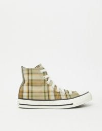 Converse Chuck Taylor All Star hi beige check trainers in Nomad Khaki