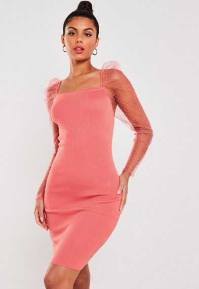 Missguided coral organza sleeve bodycon mini dress ~ sheer sleeved going out dresses