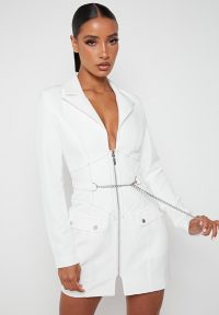 Manière De Voir CORSET BLAZER DRESS WITH CHAIN WHITE | zip front dresses