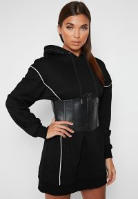 Manière De Voir CORSET HOODED DRESS BLACK
