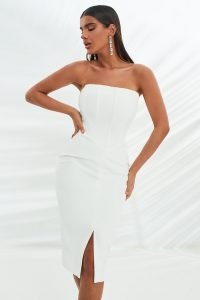 lavish alice corset midi dress in white | strapless fitted-bodice evening dresses