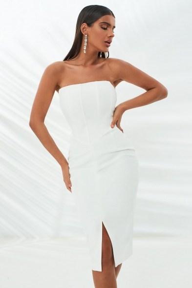 lavish alice corset midi dress in white   strapless fitted-bodice evening dresses - flipped