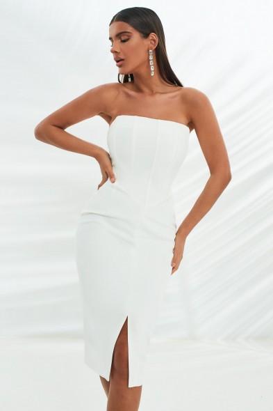 lavish alice corset midi dress in white   strapless fitted-bodice evening dresses