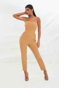 LAVISH ALICE corset style bandeau jumpsuit in camel ~ strapless jumpsuits