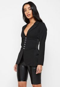 Manière De Voir CORSET WAIST BLAZER BLACK | fitted hook and eye fastening jackets