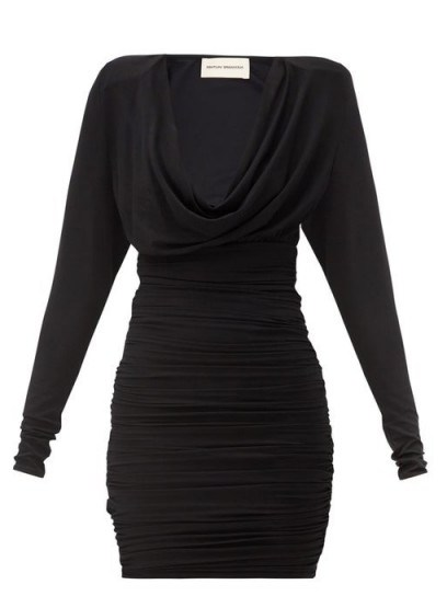 ALEXANDRE VAUTHIER Cowl-neck ruched jersey mini dress ~ a touch of 90s glamour - flipped