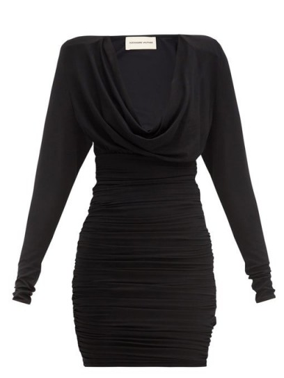 ALEXANDRE VAUTHIER Cowl-neck ruched jersey mini dress ~ a touch of 90s glamour