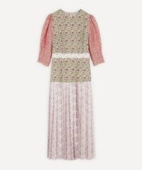 RIXO Cozi Pleated Dress / patchwork printed dresses