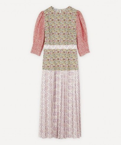 RIXO Cozi Pleated Dress / patchwork printed dresses - flipped