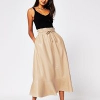 River Island Cream faux leather midi tie waist skirt