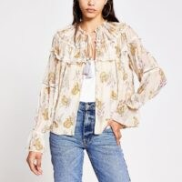 RIVER ISLAND Cream floral long sleeve embellished jacket / lightweight floaty jackets