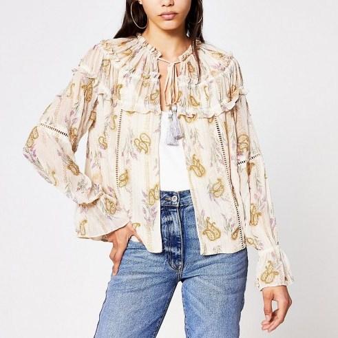 RIVER ISLAND Cream floral long sleeve embellished jacket / lightweight floaty jackets - flipped