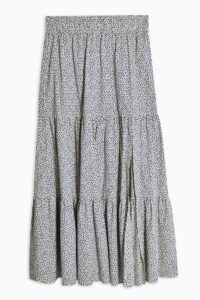 Topshop Cream Floral Print Tiered Midi Skirt