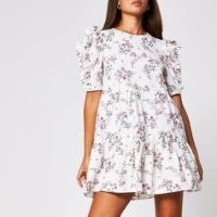 River Island Cream short sleeve cotton floral mini dress | ruffle detail dresses