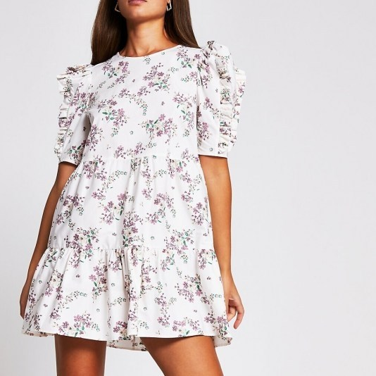 River Island Cream short sleeve cotton floral mini dress | ruffle detail dresses - flipped