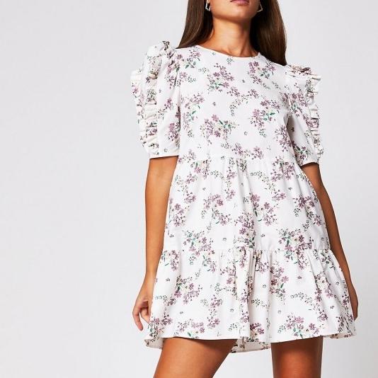 River Island Cream short sleeve cotton floral mini dress | ruffle detail dresses