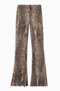 TOPSHOP Crocodile Print Plisse Flare Trousers / croc flares