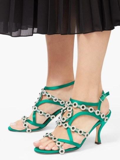 CHRISTOPHER KANE Crystal-embellished satin sandals ~ green floral strappy heels - flipped