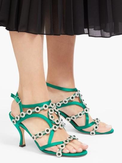 CHRISTOPHER KANE Crystal-embellished satin sandals ~ green floral strappy heels