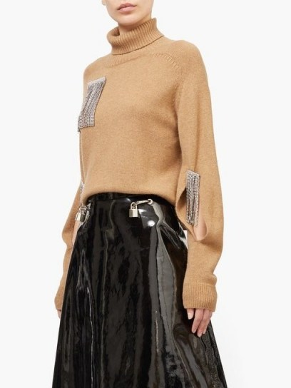 CHRISTOPHER KANE Crystal-tassel cut-out cashmere sweater ~ embellished camel coloured knitwear - flipped