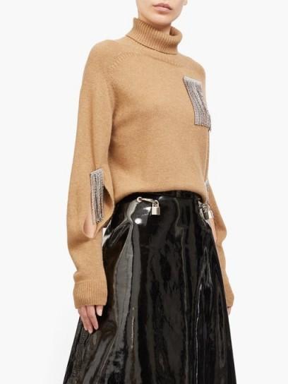 CHRISTOPHER KANE Crystal-tassel cut-out cashmere sweater ~ embellished camel coloured knitwear