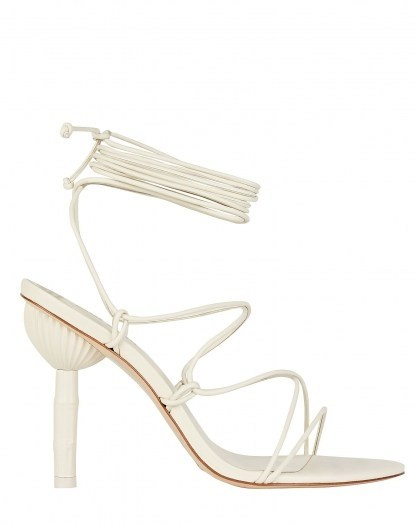 CULT GAIA Soleil Bamboo Heel Sandals | white ankle wrap sandal | summer parties - flipped