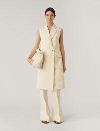 JOSEPH Cyrielle Cotton Sateen Coat Cream / chic sleeveless coats