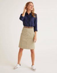Boden Daisy Chino Skirt – Soft Stone / casual day skirts