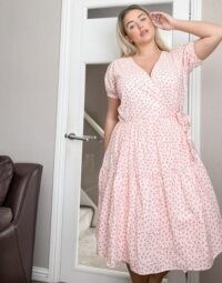 Daisy Street Plus midaxi wrap dress with tiered skirt in pretty floral