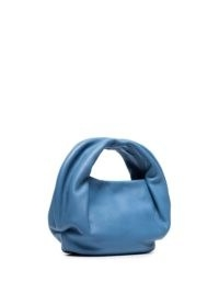 Danse Lente Lola curved tote bag | blue-leather top handle bags