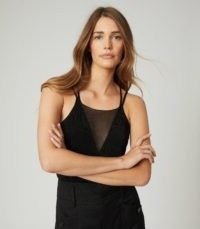 REISS DARCY SHEER PANEL CAMI BLACK ~ strappy tops