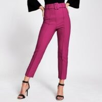 RIVER ISLAND Dark pink belted peg trousers ~ slim fit seemed front pants
