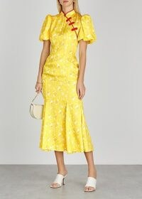 DE LA VALI Bluebell floral-print satin midi dress / yellow oriental inspired fashion