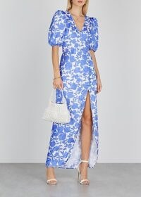 DE LA VALI Ohio floral-print satin maxi dress / blue thigh-high split summer dresses