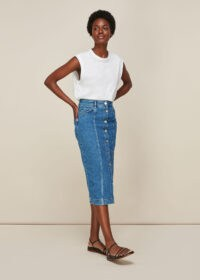WHISTLES BUTTON THROUGH DENIM SKIRT / blue pencil skirts