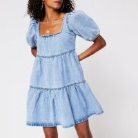 River Island Denim short sleeve smock tiered dress