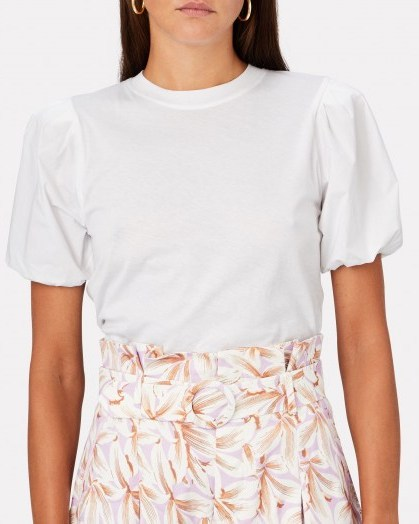 DEREK LAM 10 CROSBY Eva Puff Sleeve T-Shirt | white tee - flipped