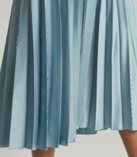 REISS DIANA EMBELLISHED PLEATED MIDI SKIRT BLUE ~ skirts with subtle embellishments ~ accordion pleats