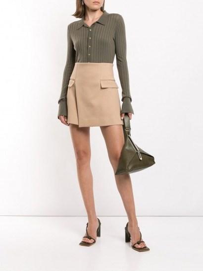 Dion Lee asymmetric mini skirt in beige - flipped