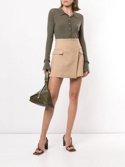 Dion Lee asymmetric mini skirt in beige