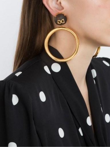 Dolce & Gabbana DG logo plaque hoop earrings / large statement hoops / designer fashion accessory - flipped