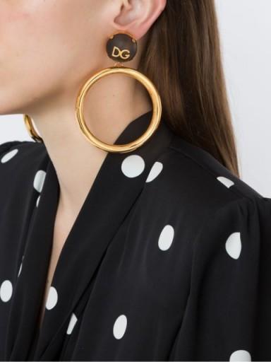 Dolce & Gabbana DG logo plaque hoop earrings / large statement hoops / designer fashion accessory