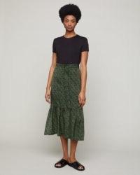 JIGSAW DOTTED FLOWER PEPLUM HEM SKIRT / khaki-green skirts