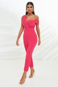 LAVISH ALICE double layer off the shoulder jumpsuit in pink – evening glamour – glamorous jumpsuits