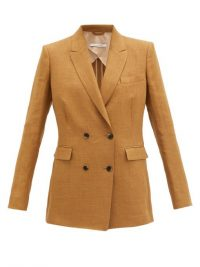 ANOTHER TOMORROW Double-breasted linen-blend twill jacket ~ camel coloured jackets