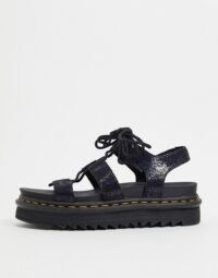 Dr Martens Nartilla lace up chunky sandal in black irridescent crackle | wide strap sandals