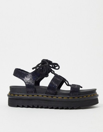 Dr Martens Nartilla lace up chunky sandal in black irridescent crackle | wide strap sandals - flipped