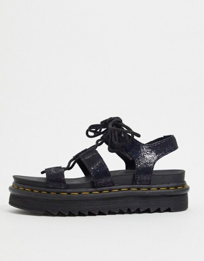 Dr Martens Nartilla lace up chunky sandal in black irridescent crackle | wide strap sandals