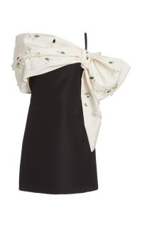Carolina Herrera Draped Embellished Silk-Faille Mini Dress / statement event dresses