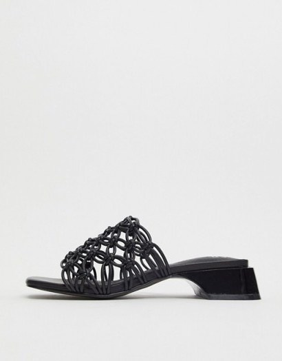 E8 by Miista Leinani clear woven mules in black / square toe mule - flipped